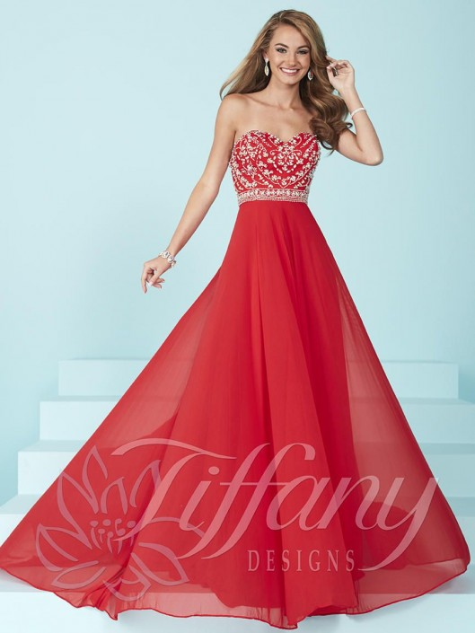 Size 18 Red Tiffany Designs 16221 Flowy Prom Dress with Beaded ...