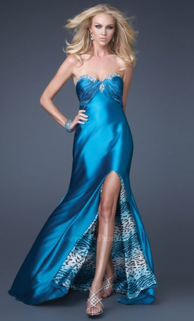 aa57c3075d4 GiGi Satin Prom Dress with Animal Print Lining 16227 by La Femme  French  Novelty