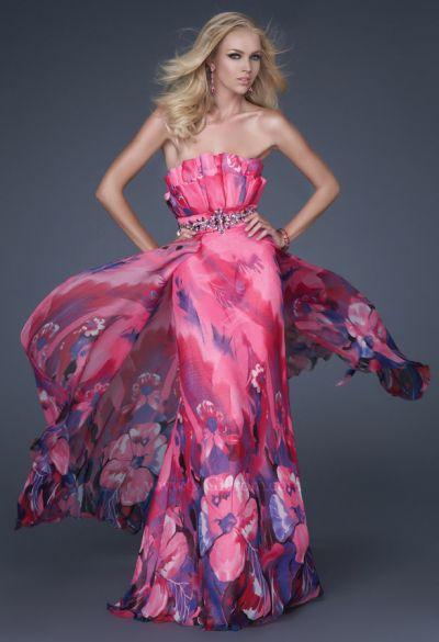 ca862b0e7e0 GiGi Fuchsia Floral Print Chiffon Prom Dress 16231 by La Femme  French  Novelty