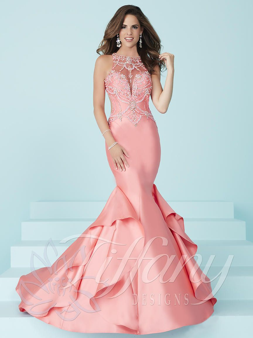 Tiffany Designs 16245 Prom Dress With Side Ruffle Panel