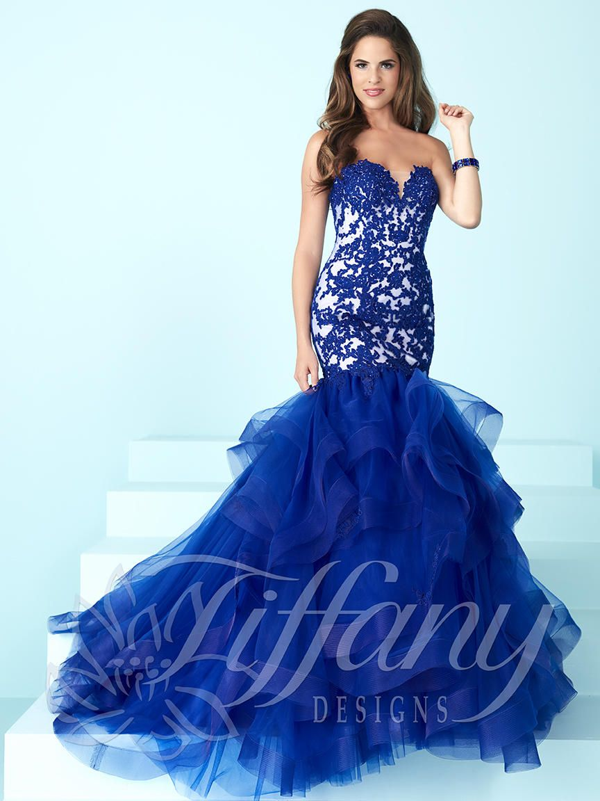 Tiffany Designs 16248 Tulle Mermaid Prom Dress French Novelty