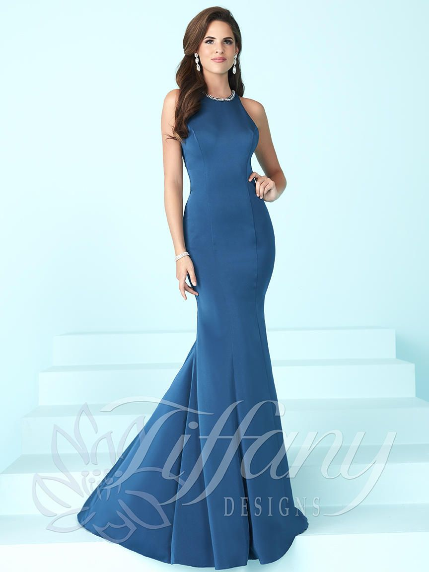 Tiffany Designs 16249 Halter Crepe Prom Dress: French Novelty