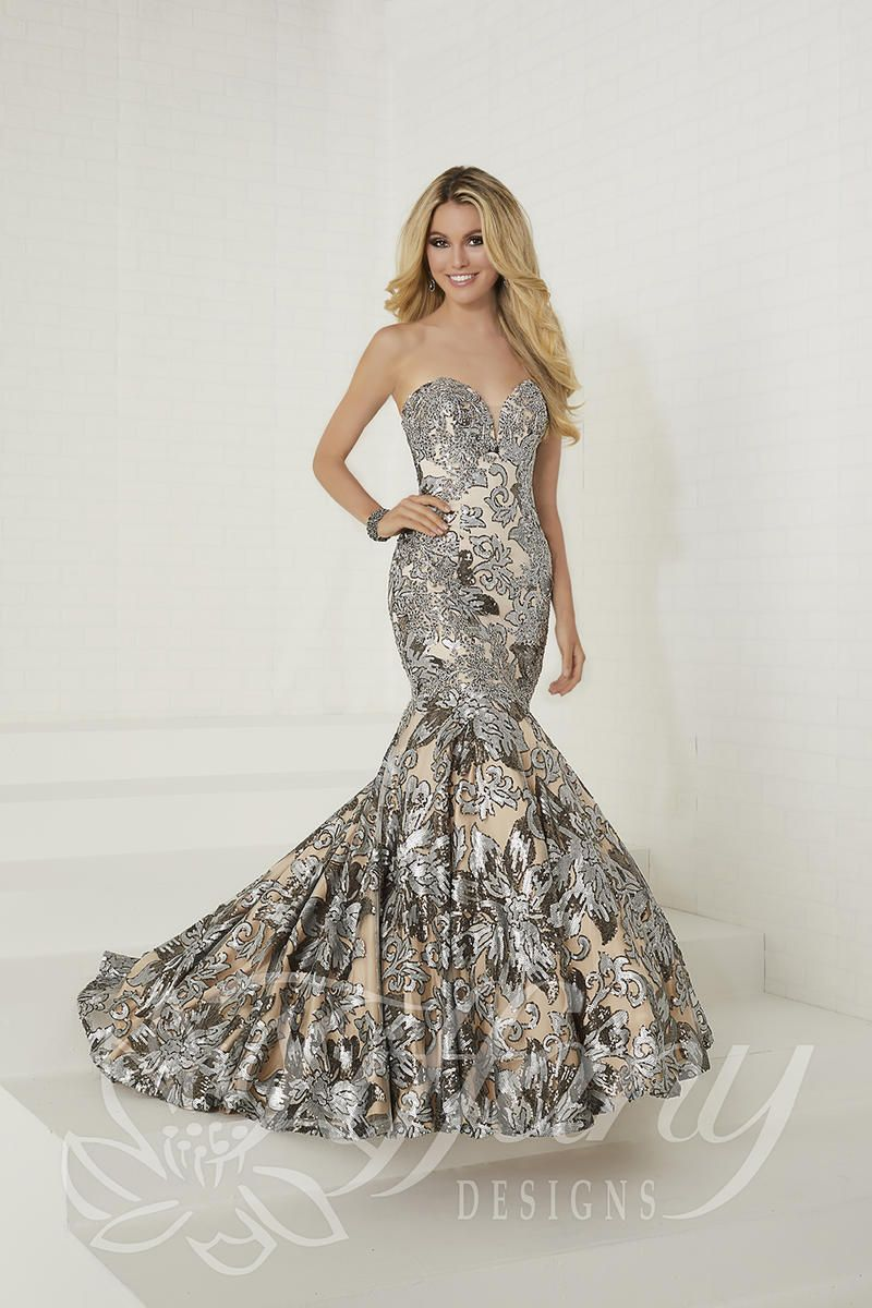 Tiffany Designs 16260 Floral Sequin Mermaid Prom Dress