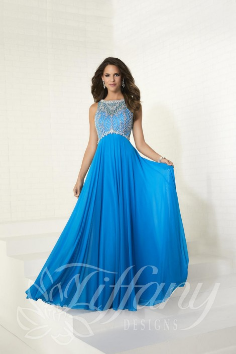 Tiffany Designs 16275 Flowing Beaded Prom Dress French Novelty