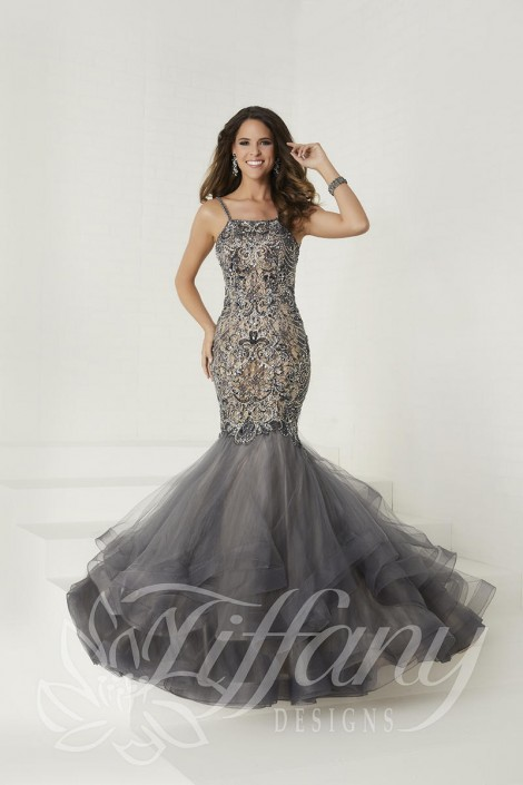 713f56104c2 Tiffany Designs 16280 Beaded Lace Mermaid Prom Dress  French Novelty