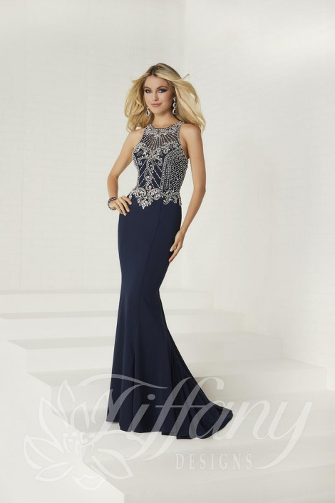 Size 6 Navy Tiffany Designs 16293 Jersey Beaded Prom Dress: French ...