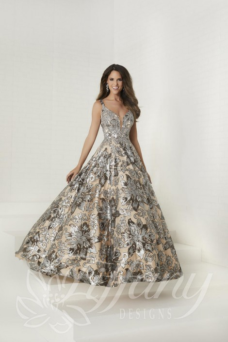 Size 8 Platinum-Nude Tiffany Designs 16294 Floral Sequin Prom Dress ...