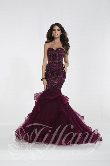 Tiffany Designs 16296 Beaded Tulle Mermaid Prom Dress: French Novelty