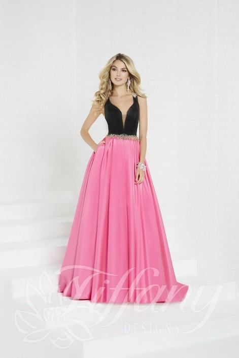 Tiffany Designs 16297 Illusion Back Shimmer Prom Dress: French Novelty
