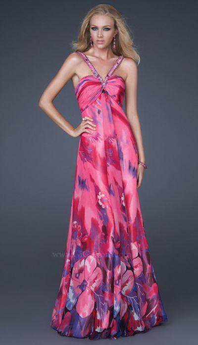 GiGi Fuchsia Floral Print Chiffon Prom Dress 16300 by La Femme ...