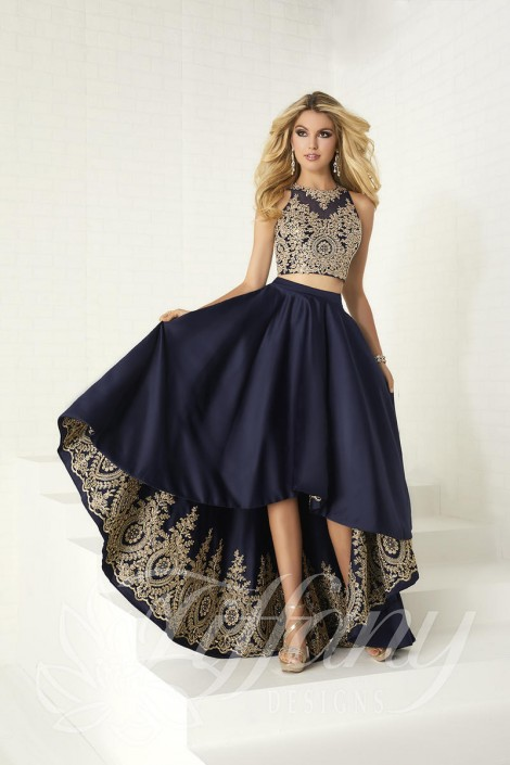 Size 4 Navy-Gold Tiffany Designs 16305 High Low 2pc Prom Dress ...