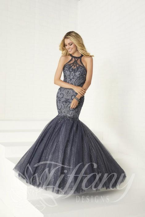 c8c96d170b4 Tiffany Designs 16307 Beaded Tulle Mermaid Prom Dress  French Novelty