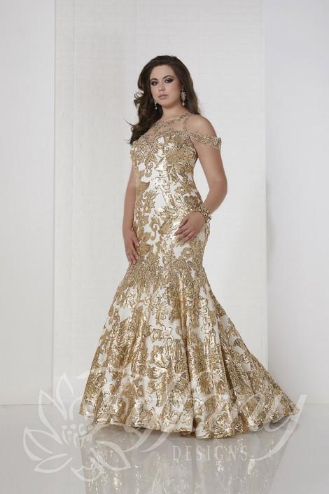 Tiffany Designs Plus 16312 Flower Sequin Mermaid Dress French Novelty