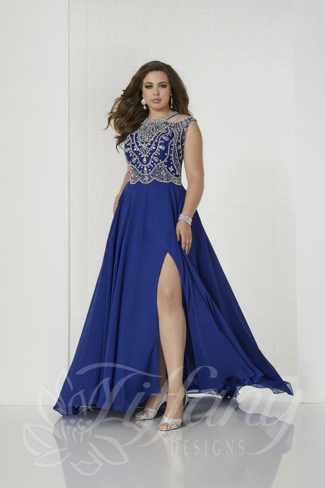 Tiffany Designs 16313 Plus Size Cold Shoulder Prom Dress: French Novelty