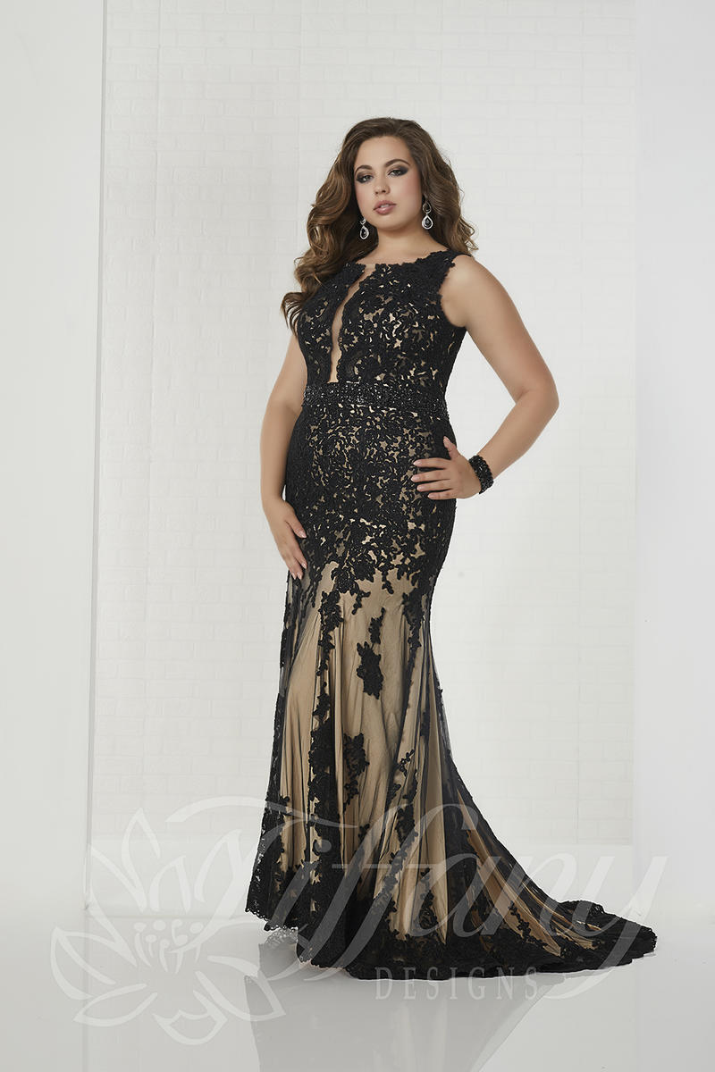 Tiffany Designs 16314 Plus Size Lace Prom Dress: French Novelty