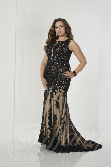 Tiffany Designs 16314 Plus Size Lace Prom Dress French Novelty