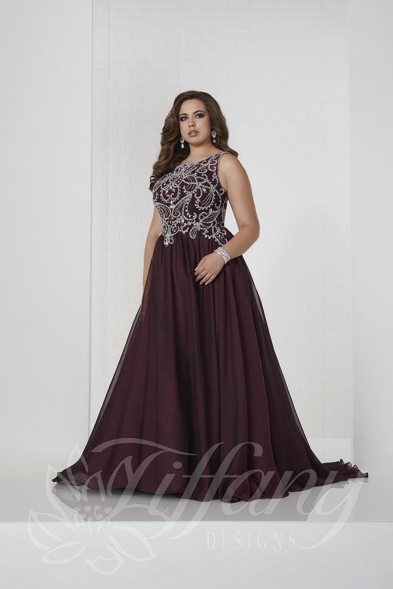 Tiffany Designs 16316 Plus Size Iridescent Prom Dress