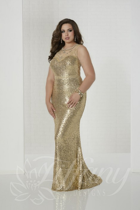 Tiffany Designs 16317 Plus Size Sequin Prom Gown: French Novelty