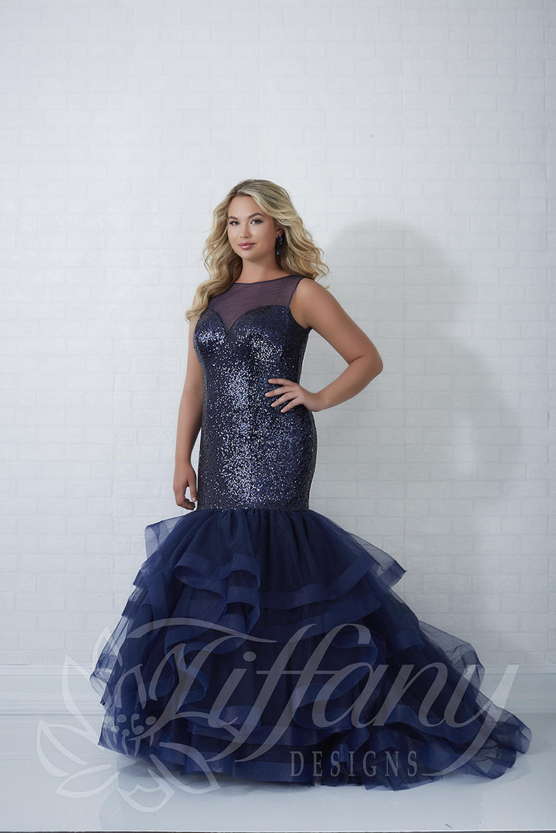 Tiffany Designs 16320 Plus Size Sequin Mermaid Dress: French Novelty
