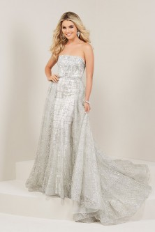 8aff238536 Tiffany 16339 Metallic Prom Dress with Detachable Overskirt