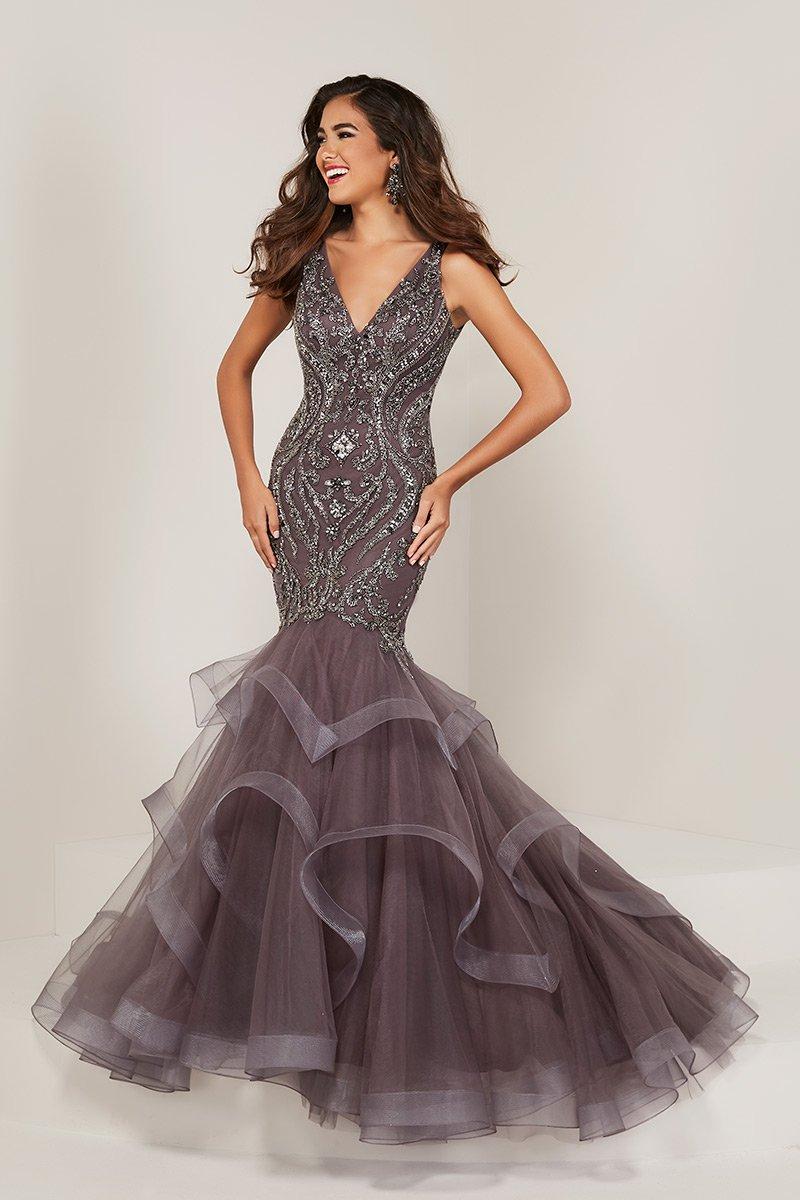 96cdd4ae0a4 Tiffany Designs 16351 Beaded Ruffle Mermaid Dress  French Novelty