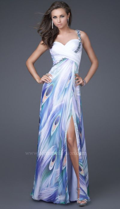 Peacock Prom Dresses 2011 La Femme Chiffon Print 16363: French Novelty