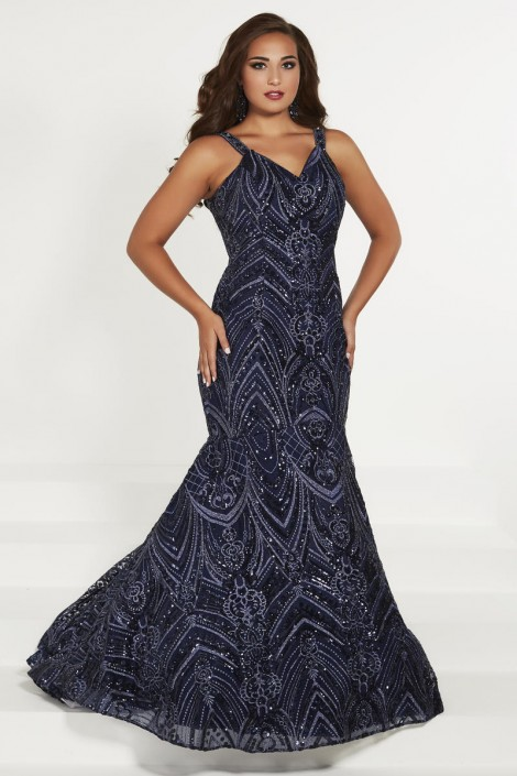 Tiffany Designs 16376 Plus Size Metallic Lace Mermaid Dress