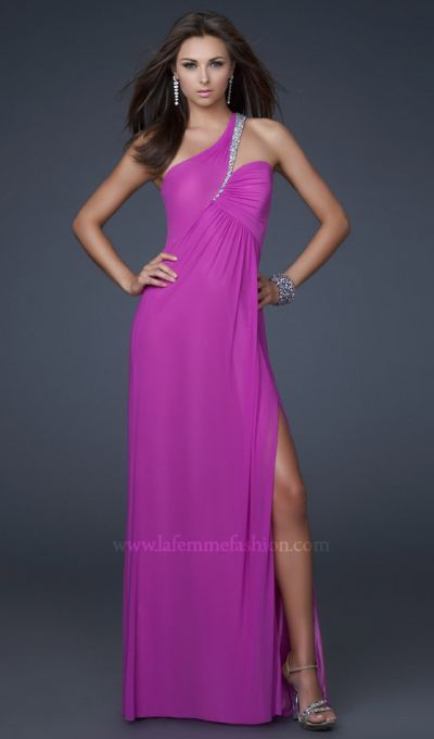 51e2bed4c38 Also another popular dress for this year is theLa Femme One Shoulder Beaded  Chiffon Prom Dress 16377