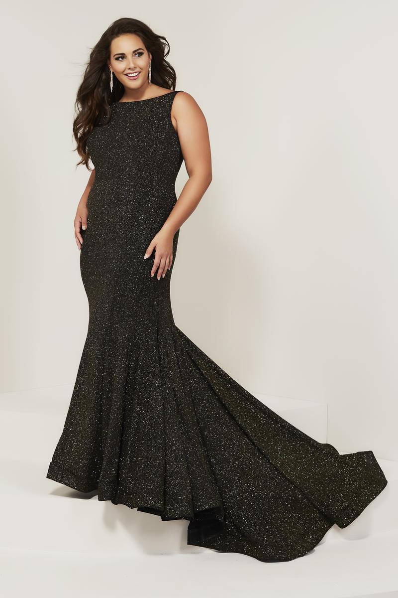 Tiffany Designs 16377 Plus Size Sparkling Trumpet Dress