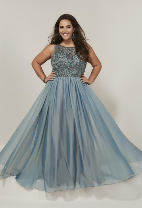 Tiffany Designs 16379 Plus Size Beaded Lace Prom Gown
