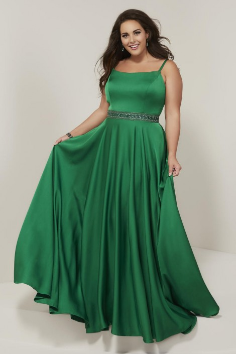 Tiffany Designs 16383 Plus Size Flowing Prom Dress