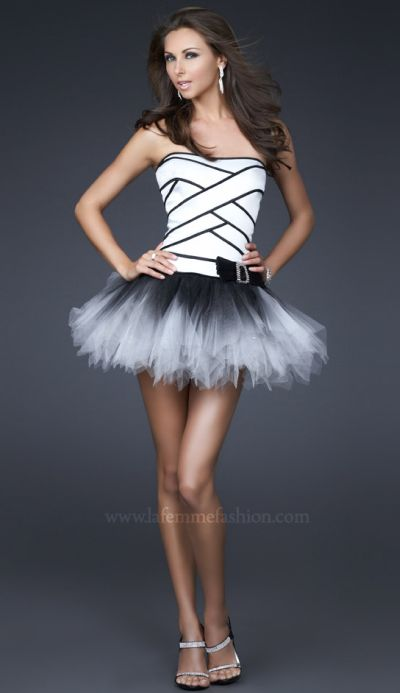 La Femme Short Black and White Tutu Prom Party Dress 16395: French ...