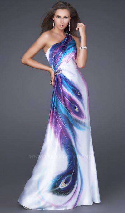 Peacock Satin Print La Femme Prom Dress 16401: French Novelty