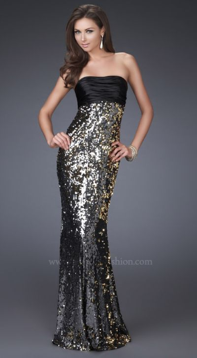 La Femme Black Silver Satin and Sequin Trumpet Prom Dress 16561 ...