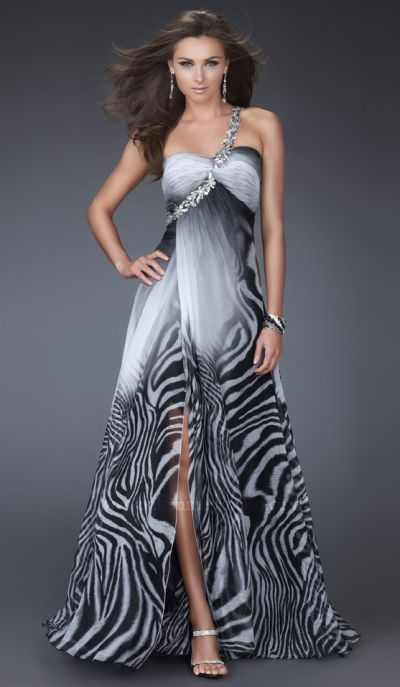 La Femme Black and White Ombre Animal Print Prom Dress 16622: French ...