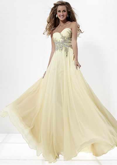 Tiffany Designs Strapless Beaded Chiffon Prom Dress 16662: French ...