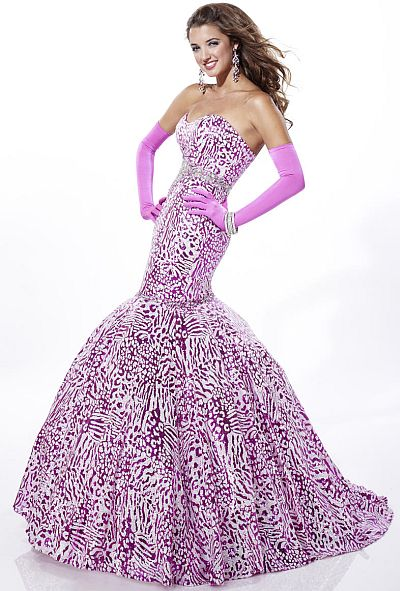 Tiffany Designs Sequin Leopard Mermaid Prom Dress 16666: French Novelty