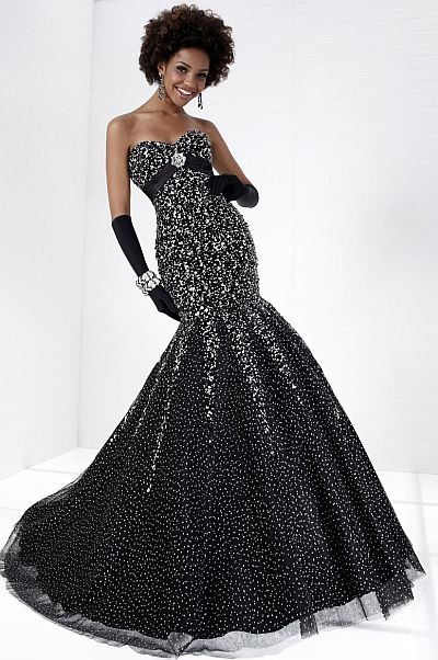 Tiffany Designs Sequin Mermaid Tulle Prom Dress 16677: French Novelty