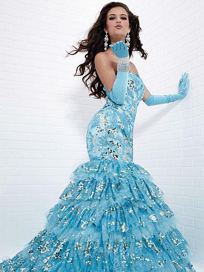Tiffany Designs Tiered Ruffle Mermaid Sequin Prom Dress 16685 ...
