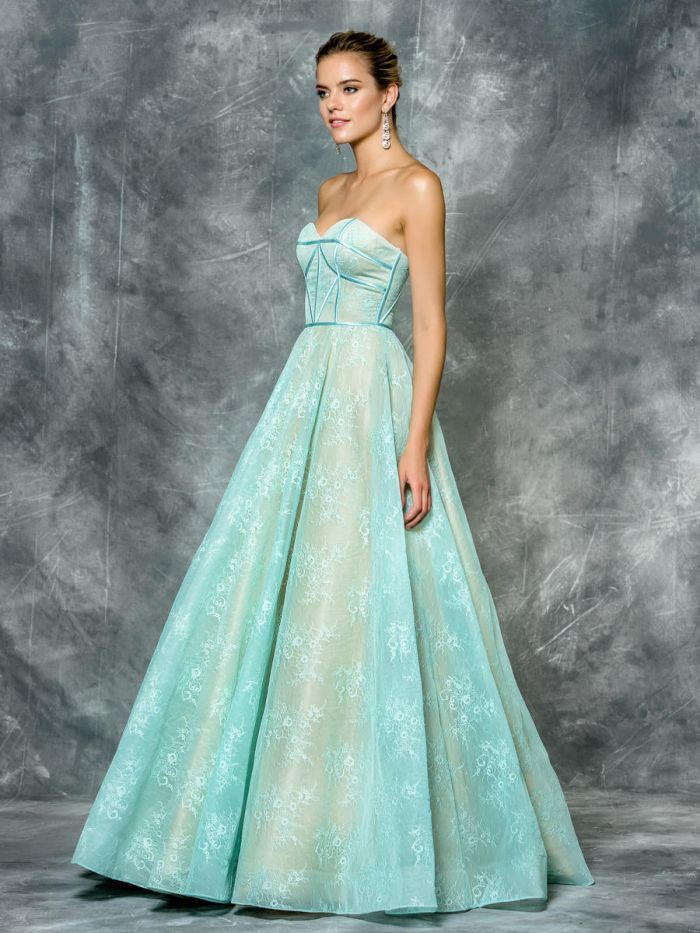 Colors 1684 Lace A Line Prom Dress French Novelty