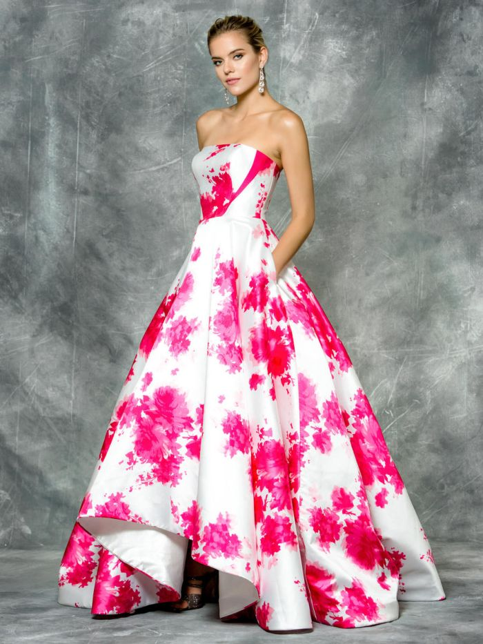 Colors 1685 Floral Print High Low Prom Dress: French Novelty