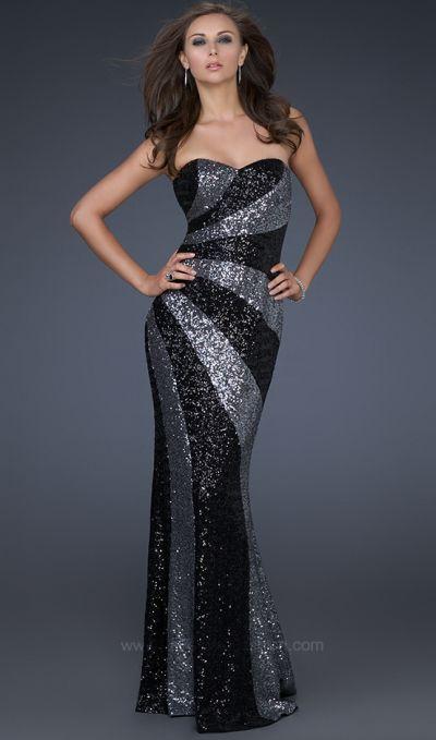 La Femme Unique Black and Silver Sequin Evening Dress 16869 ...