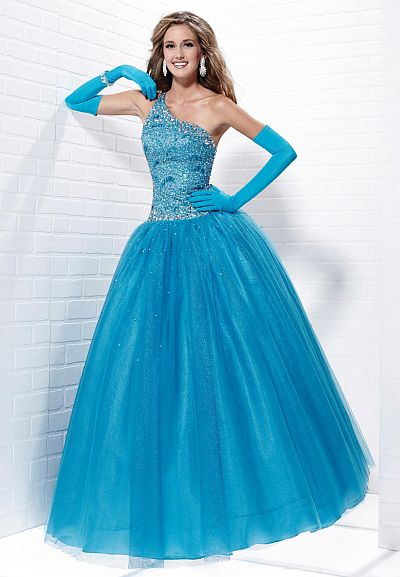 Tiffany Designs Presentation One Shoulder Tulle Ball Gown 16877 ...