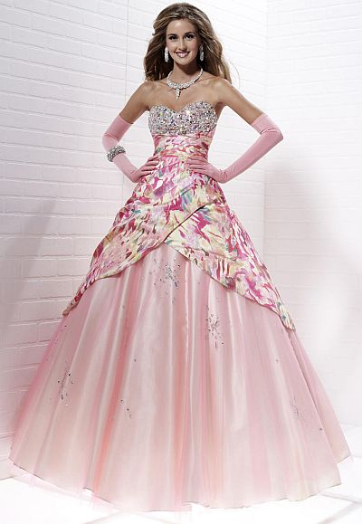 Tiffany Designs Presentation Pink Multi Print Ball Gown 16880 ...