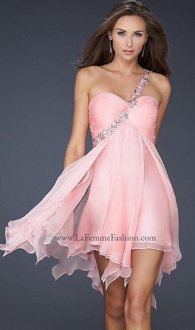 La Femme One Shoulder Chiffon Short Prom Dress 16903: French Novelty