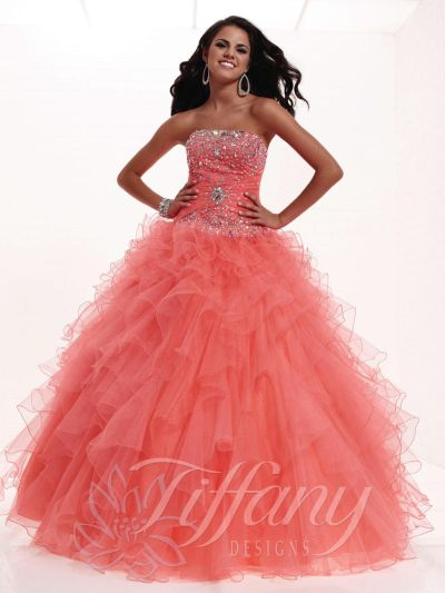 81186503543 Tiffany Designs 16909 Presentation Tiered Ruffle Gown  French Novelty