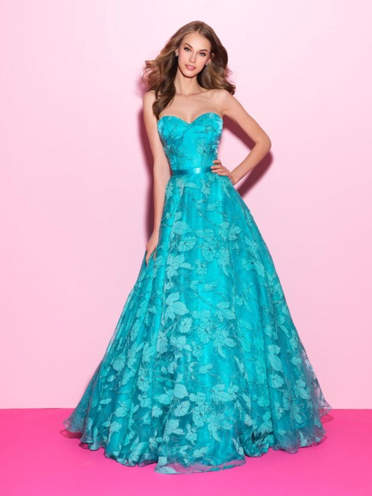 Madison James 17-214 Floral Print Ball Gown: French Novelty