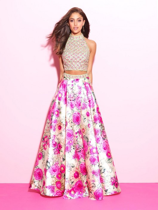 Madison James 17-283 Floral Print Two Piece Gown: French Novelty