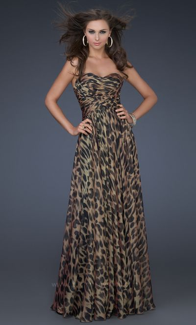 Flattering Animal Print Chiffon Evening Dress La Femme 17005 ...