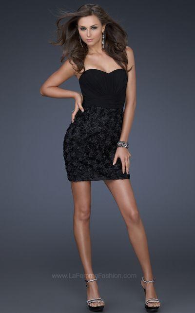 La Femme Strapless Little Black Homecoming Dress 17033 French Novelty